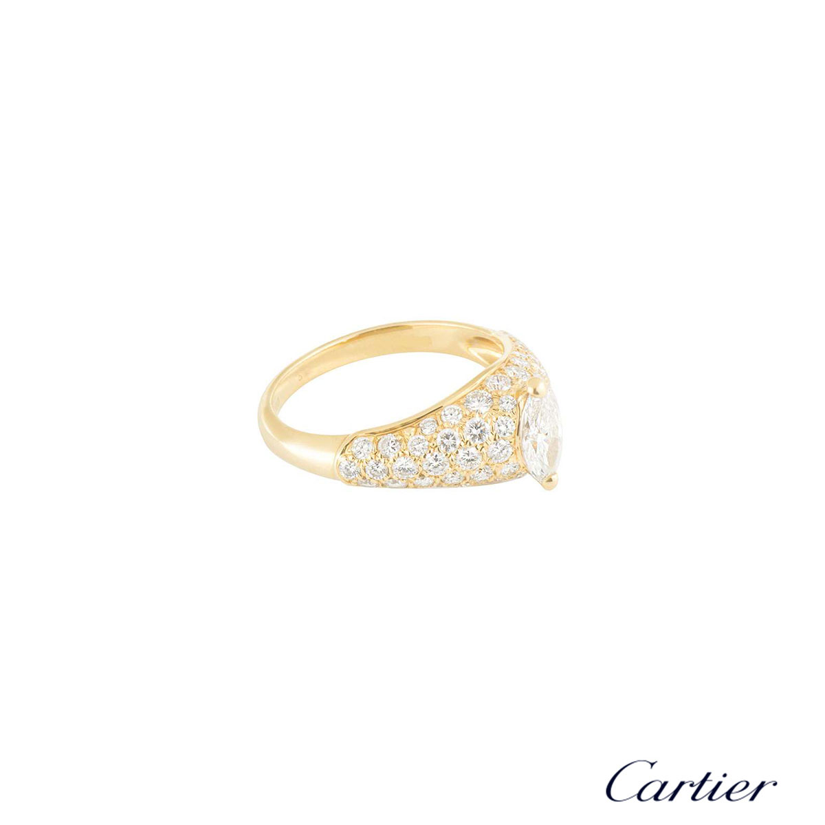 Cartier Yellow Gold Marquise Diamond Ring 0.55ct G+/VS+